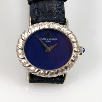 Ladies Wristwatch - leather, white gold - Baume a Mercier - 1970