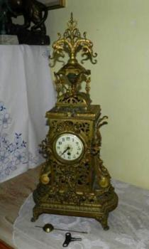 Mantel Clock - bronze, painted porcelain - 1850