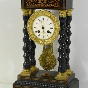 Column Mantel Clock - solid wood - 1830